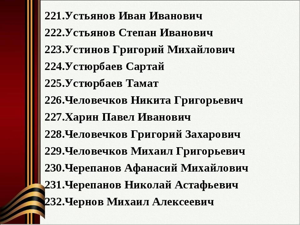 Устьянов Иван Иванович Устьянов Степан Иванович Устинов Григорий Михайлович У...