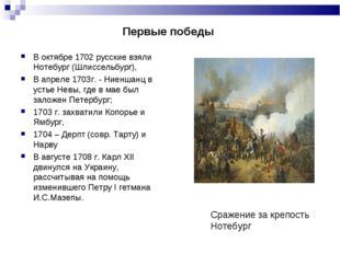 Первые победы В октябре 1702 русские взяли Нотебург (Шлиссельбург), В апр