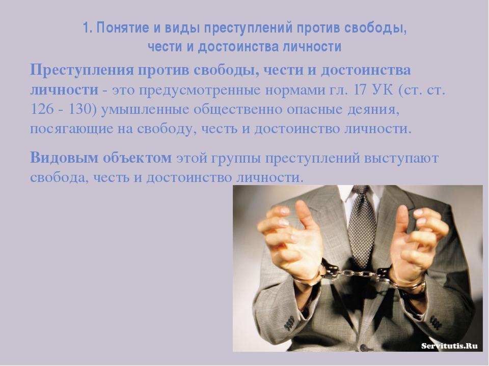 1. Понятие и виды преступлений против свободы, чести и достоинства личности П...