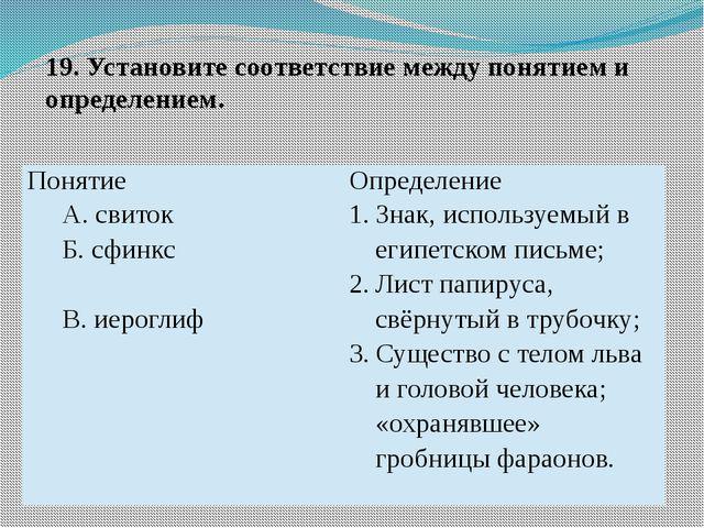 19. Установите соответствие между понятием и определением. Понятие Определени...