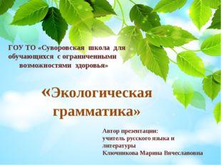 «Экологическая грамматика» ГОУ ТО «Суворовская школа для обучающихся с огран
