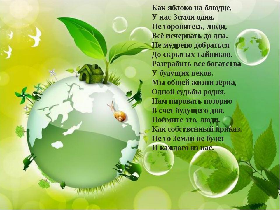 Как яблоко на блюдце, У нас Земля одна. Не торопитесь, люди, Всё исчерпать до...