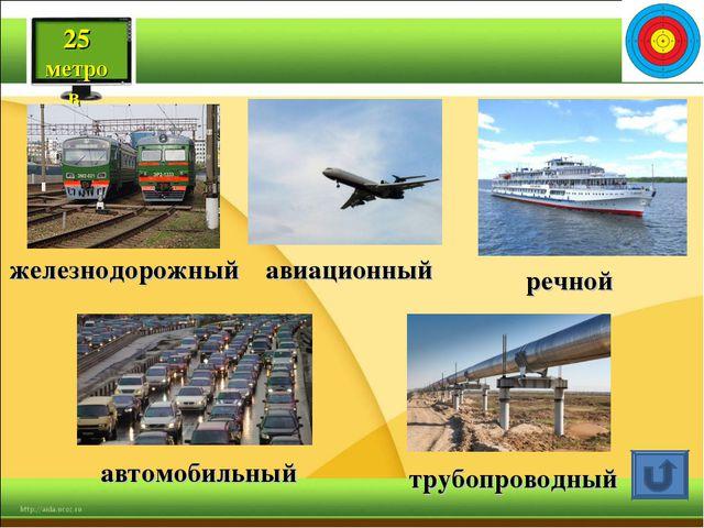 железнодорожный автомобильный трубопроводный авиационный речной