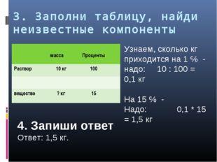 3. Заполни таблицу, найди неизвестные компоненты Узнаем, сколько кг приходитс