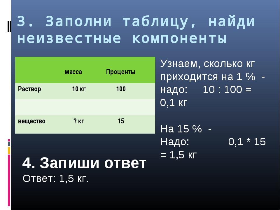 3. Заполни таблицу, найди неизвестные компоненты Узнаем, сколько кг приходитс...