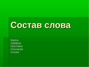 Состав слова Корень Суффикс Приставка Окончание Основа