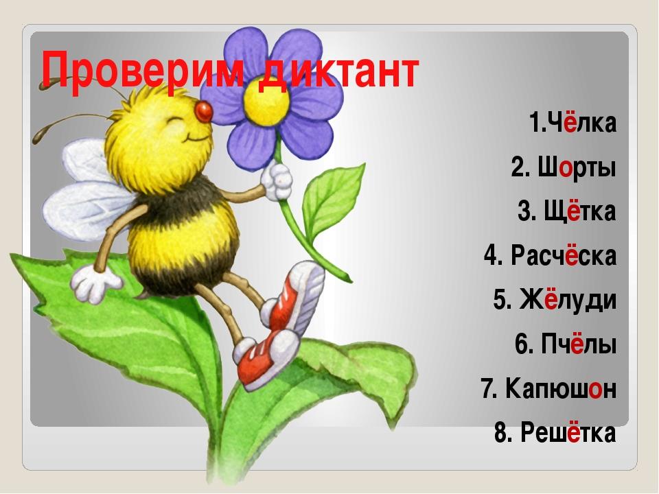 Проверим диктант 1.Чёлка 2. Шорты 3. Щётка 4. Расчёска 5. Жёлуди 6. Пчёлы 7....