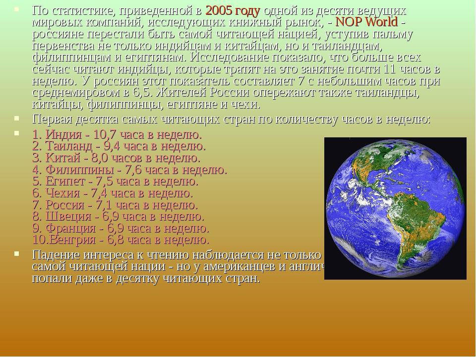 По статистике, приведеннойв 2005 году одной из десяти ведущих мировых компан...