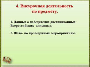4. Внеурочная деятельность по предмету. 1. Данные о победителях дистанционных