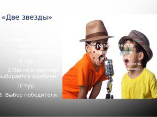 «Две звезды» I тур 1.Самостоятельный выбор песни и партнера.(Д/З) II тур 2.Пе