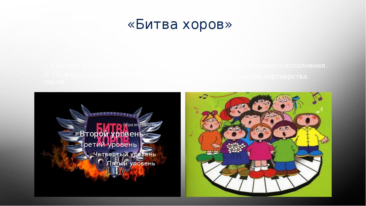 «Битва хоров» 1.Каждый класс учит по три песни. 2. По жеребьёвки исполняется...