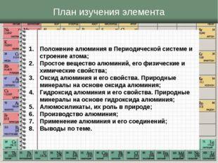 План изучения элемента Положение алюминия в Периодической системе и строение