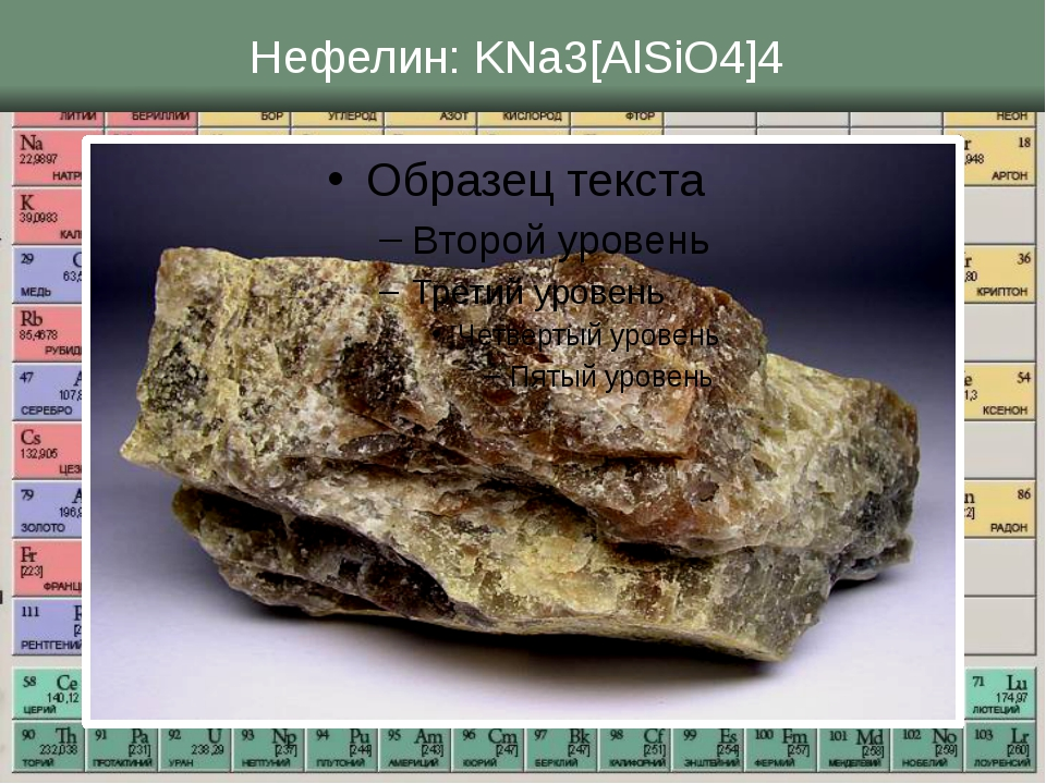 Нефелин: KNa3[AlSiO4]4