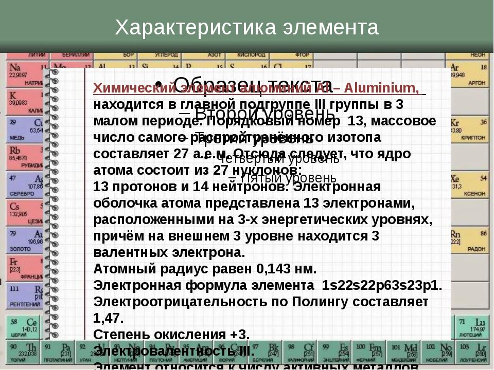 Характеристика элемента Химический элемент алюминий Al – Aluminium, находится...