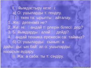 І. Ұйымдастыру кезеңі:  а) Оқушыларды түгендеу. ә) Өткен тақырыпты қа