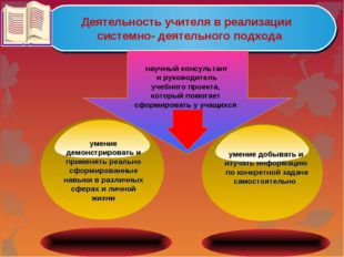 Деятельность учителя в реализации системно- деятельного подхода научный консу
