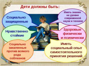 Дети должны быть: Социально защищенные Нравственно стойкие Социально закален