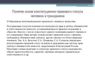 Понятие основ конституционно-правового статуса человека и гражданина Содержан