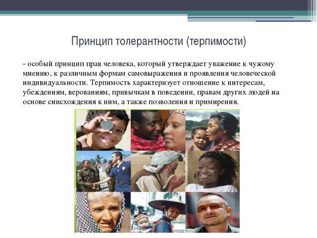 Принцип толерантности (терпимости) - особый принцип прав человека, который ут...