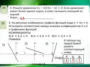24. 25. Урок №5 1,5 y x y y x x В таблице под каждой буквой укажите соответст