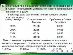 Урок №9 42. 14. Учёный Иванов выезжает из Москвы на конференцию в Санкт-Петер
