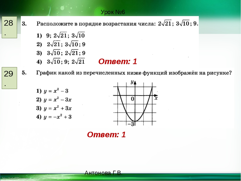 28. 29. Ответ: 1 Ответ: 1 Урок №6 Антонова Г.В. http://linda6035.ucoz.ru/