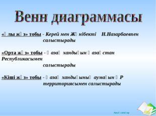 «Ұлы жүз» тобы - Керей мен Жәнібекті Н.Назарбаевпен салыстырады «Орта жүз» то