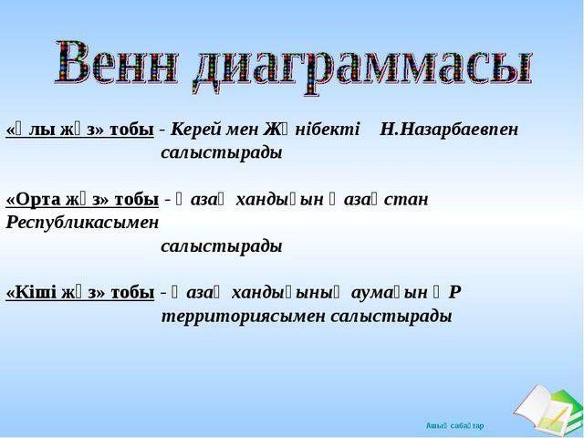 «Ұлы жүз» тобы - Керей мен Жәнібекті Н.Назарбаевпен салыстырады «Орта жүз» то...