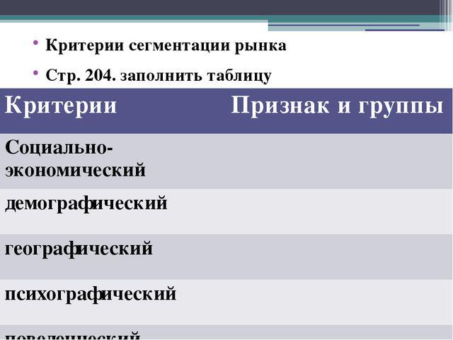 Критерии сегментации рынка Стр. 204. заполнить таблицу Критерии Признаки груп...