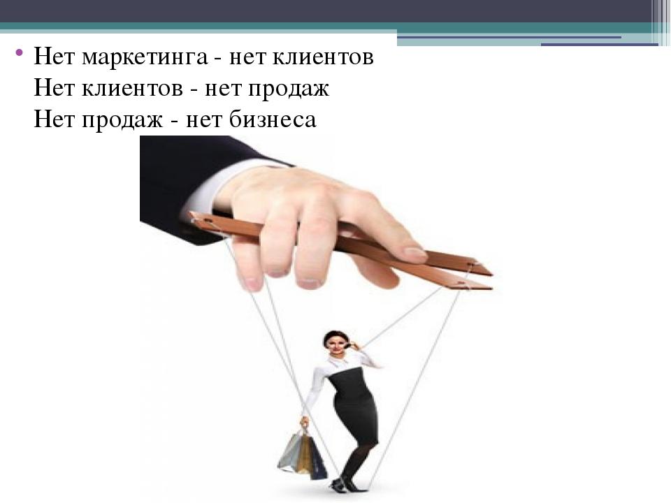 Нет маркетинга - нет клиентов Нет клиентов - нет продаж Нет продаж - нет бизн...
