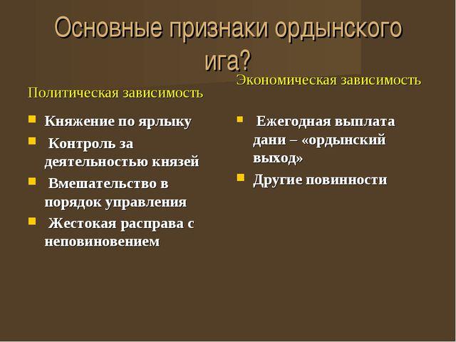 Основные признаки ордынского ига? Политическая зависимость Княжение по ярлыку...