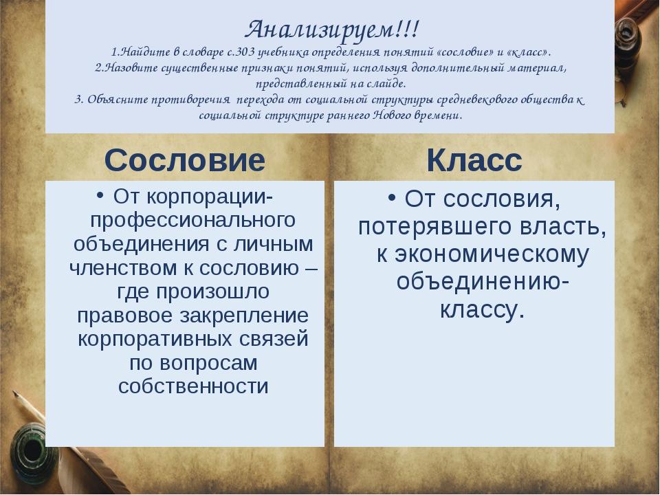 Анализируем!!! 1.Найдите в словаре с.303 учебника определения понятий «сослов...