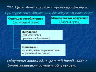УЭ-8 Цель: Изучить характер поражающих факторов. Облучение людей однократной