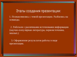 Этапы создания презентации: 1. Познакомились с темой презентации. Разбились н