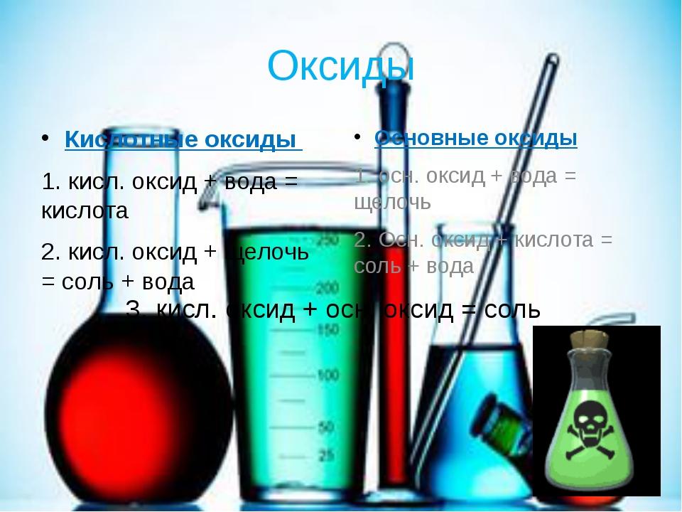 Оксиды Кислотные оксиды 1. кисл. оксид + вода = кислота 2. кисл. оксид + щело...
