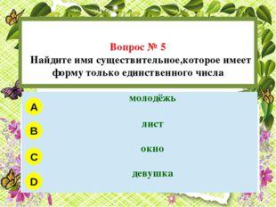 Вопрос № 5 Найдите имя существительное,которое имеет форму только единственн