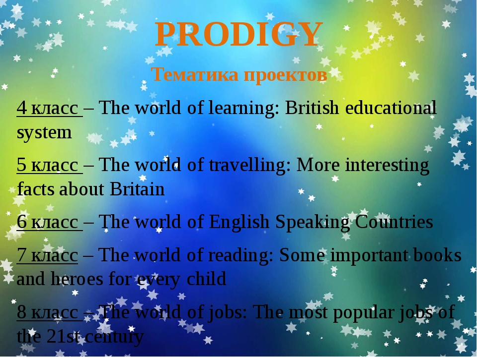 PRODIGY Тематика проектов 4 класс – The world of learning: British educationa...