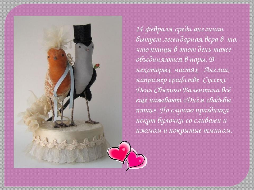 14 февраля среди англичан бытует легендарная вера в то, что птицы в этот день...