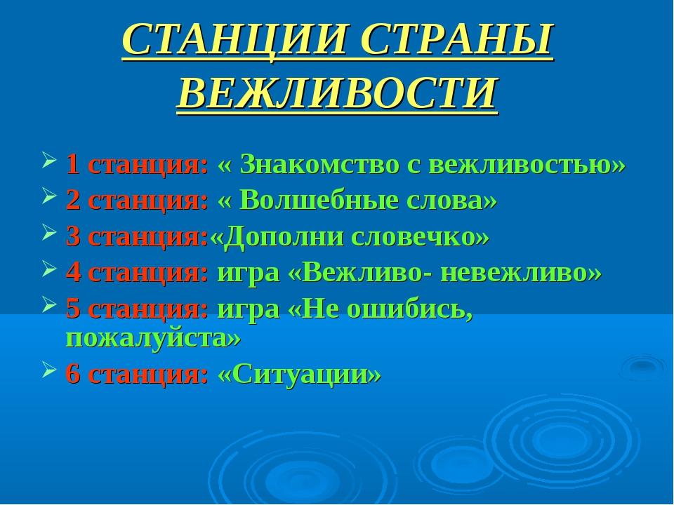 СТАНЦИИ СТРАНЫ ВЕЖЛИВОСТИ 1 станция: « Знакомство с вежливостью» 2 станция: «...