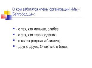 О ком заботятся члены организации «Мы - Белгородцы»: - о тех, кто меньше, сла