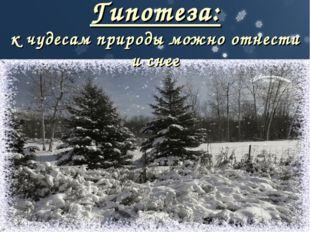 Гипотеза: к чудесам природы можно отнести и снег
