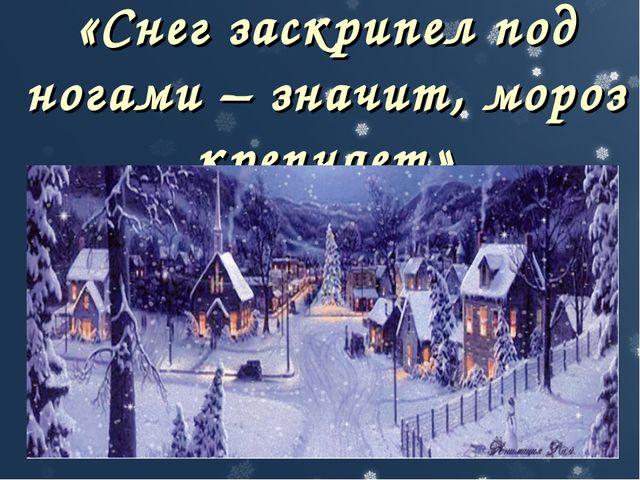 «Снег заскрипел под ногами – значит, мороз крепчает»