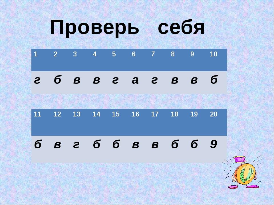 Проверь себя 1 2 3 4 5 6 7 8 9 10 г б в в г а г в в б 11 12 13 14 15 16 17 18...