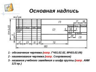 Основная надпись чертежа 1 - обозначение чертежа (напр. ГЧ01.02.02, МЧ03.02.0