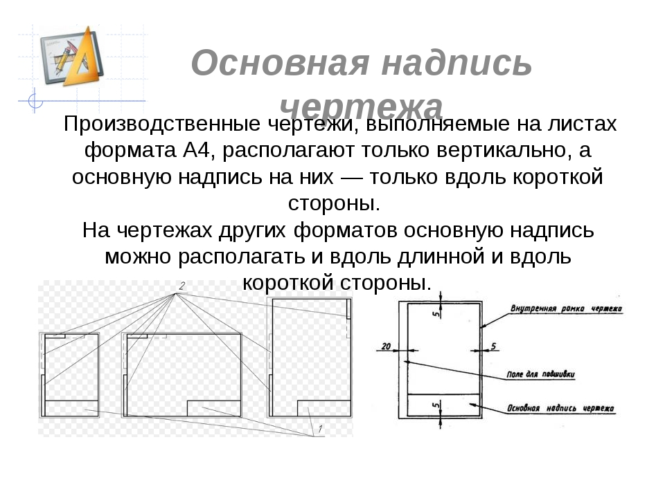 Основная надпись чертежа Производственные чертежи, выполняемые на листах фор...