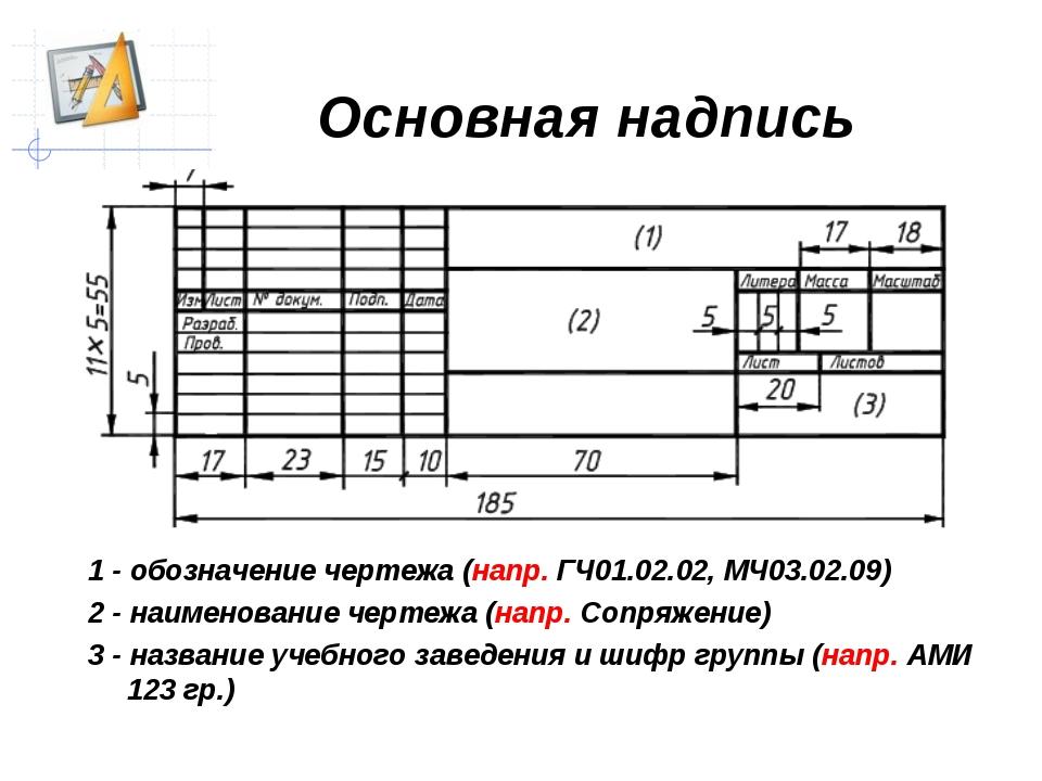 Основная надпись чертежа 1 - обозначение чертежа (напр. ГЧ01.02.02, МЧ03.02.0...