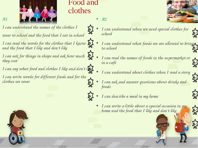 Food and clothes A2 I can understand when we need special clothes for school...