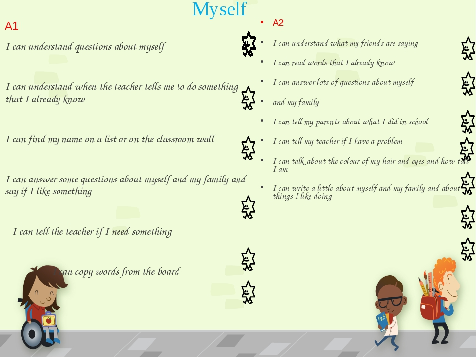 Myself A2 I can understand what my friends are saying I can read words that I...