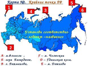 Карта №1. Крайние точки РФ А- м.Флигели , Г – м. Челюскин Б- гора Базардюзю,