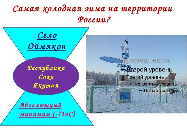 Самая холодная зима на территории России? Село Оймякон Абсолютный минимум (-7...